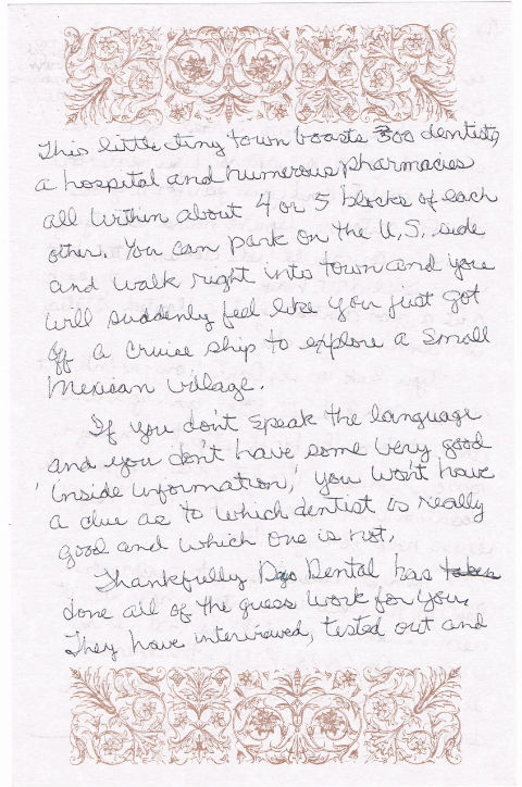 A page from a critic's handwritten testimonial about Dayo Dental