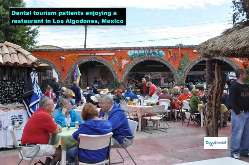 Dental tourism patients enjoying a restaurant in Los Algodones, Mexico - Mola City
