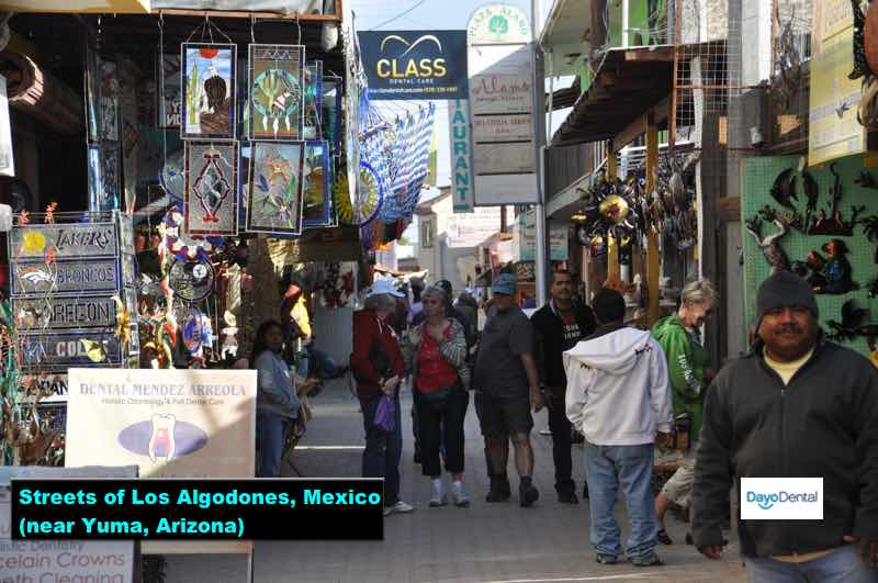Streets of Los Algodones, Mexico - Dentist near yuma