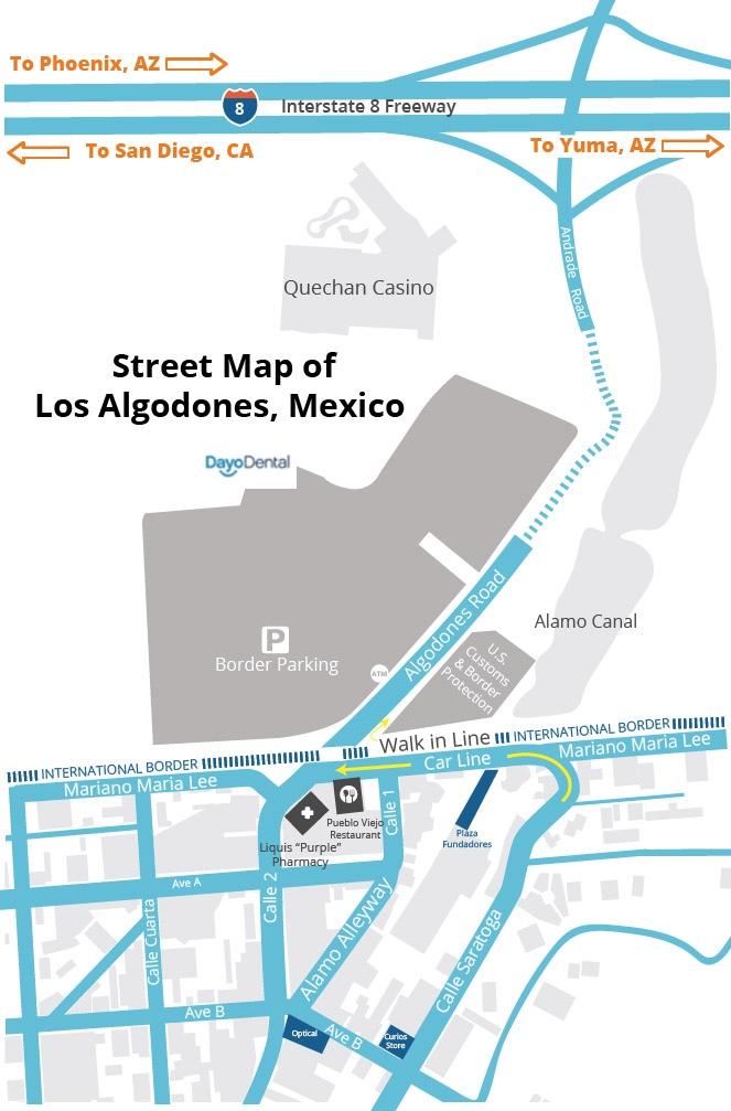 Street Map of Los Algodones, Mexico Border. Molar City dental in Mexico border near Yuma, AZ