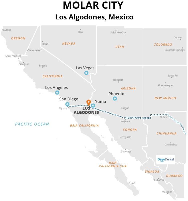 Where is Los Algodones Mexico? Molar City Mexico Map