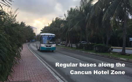 Buses for Tourist along Hotel Zone in Cancun